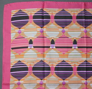 CLELIA & ROMY Pink 100% SILK SCARF - 66cm x 66cm - Made in Italy
