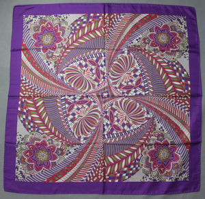 100% SILK Purple SCARF - 86cm x 86cm - Made in Italy
