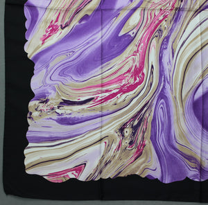 100% SILK Purple SCARF - 87cm x 87cm - Made in Italy