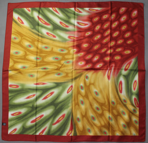 100% SILK SCARF - Red Green & Gold - 87cm x 87cm - Made in Italy
