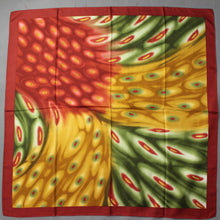 Load image into Gallery viewer, 100% SILK SCARF - Red Green & Gold - 87cm x 87cm - Made in Italy