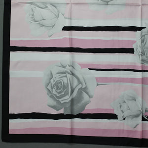 100% SILK Pink Floral Pattern SCARF - 86cm x 86cm - Made in Italy