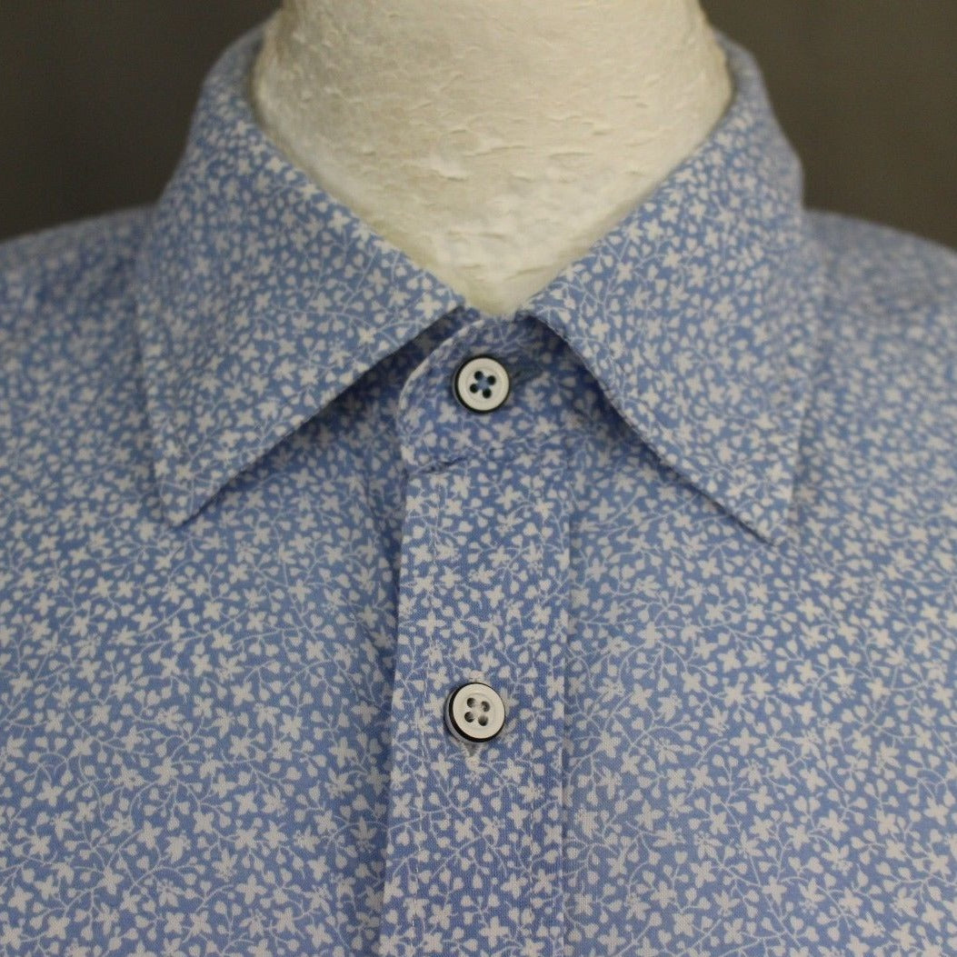 HACKETT London Mens White & Blue SLIM FIT Floral Pattern SHIRT - Size Large - L