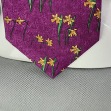 Load and play video in Gallery viewer, DUNHILL Mens Purple 100% SILK Daffodil Pattern TIE - Made in Italy