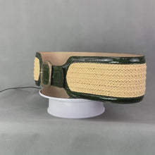 Load and play video in Gallery viewer, SPORTMAX Ladies Green Patent Leather BELT with Yellow Weave - Size Large L - Made in Italy
