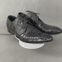 Load and play video in Gallery viewer, DOLCE & GABBANA Mens Mock Croc Black Leather Dress Shoes - Size UK 9 - EU 43