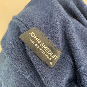 JOHN SMEDLEY Mens Blue Extrafine MERINO WOOL Roll Neck JUMPER Size XL Extra Large