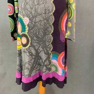DESIGUAL Ladies Long Sleeved Colourful DRESS - Size S Small