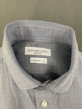 "Load image into Gallery viewer, RICHARD JAMES Saville Row Mens Blue SHIRT - Size 16"" Collar - Large L"