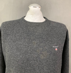 GANT Mens Grey 100% Lambswool Crew Neck JUMPER - Size LARGE L