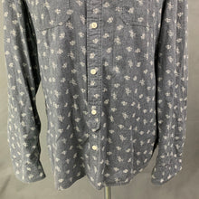 Load image into Gallery viewer, ALLSAINTS Mens SHUTTLE NOTES FABRIC Grey SHIMANE L/SLV SHIRT Size Large L