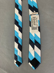 DIESEL INDUSTRY Blue & White Striped 100% SILK Skinny TIE