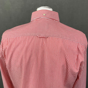 GANT Mens THE POPLIN BANKER Fitted Red Striped SHIRT - Size Large - L