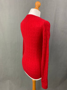 JACK WILLS Ladies THE TINSBURY Red Cable Knit JUMPER Size UK 10