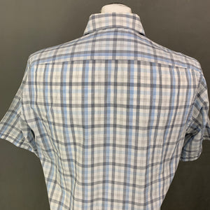 HUGO BOSS Mens Blue Check LUKA Short Sleeved SHIRT - Size M Medium