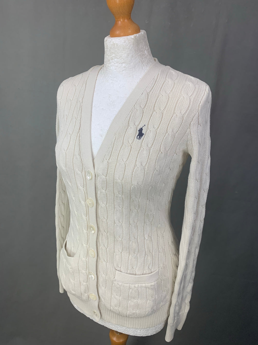 RALPH LAUREN Ladies Cable Knit CARDIGAN Size S Small