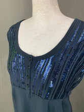 Load image into Gallery viewer, MAXMARA Weekend Blue Sequinned Sleeveless Top Size L Large MAX MARA