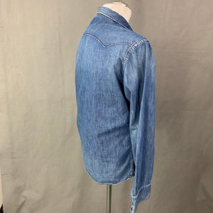 REPLAY Mens Blue Denim Long Sleeved SHIRT - Size LARGE L