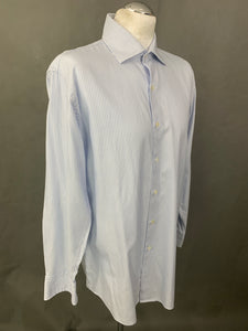 "DUNHILL London Blue Striped Engineered Fit SHIRT Size 16.5"" Collar - XL"