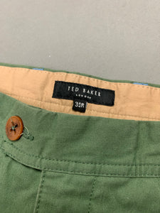 "TED BAKER Mens BLYCHIN Green CHINOS / TROUSERS Size 34R Waist 34"" - Leg 32"""