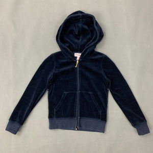 JUICY COUTURE Girls Navy Blue Velour HOODIE / HOODED JACKET - Size Age 4 - 5