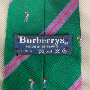Vintage BURBERRYS Mens Green 100% SILK Golf Graphic TIE - Made in England