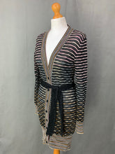Load image into Gallery viewer, MISSONI Ladies Wool Blend Striped Waist Tie CARDIGAN UK 10 - IT 42 Made in Italy