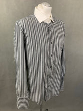 "Load image into Gallery viewer, RALPH LAUREN Purple Label Mens Grey Striped SHIRT Size 16.5"" Collar - XL"