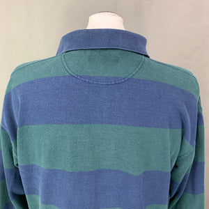 FRED PERRY Mens Blue & Green Hooped RUGBY SHIRT Size Medium M