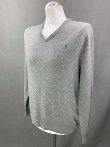 POLO RALPH LAUREN Mens MERINO WOOL V-Neck JUMPER Size L Large