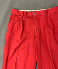 "Load image into Gallery viewer, Vintage AQUASCUTUM Mens Red TROUSERS Size Waist 32"" - Leg 31"""