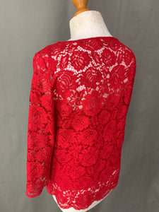 THE KOOPLES Moonlight Ladies Red LACE TOP Size 1 - UK 10