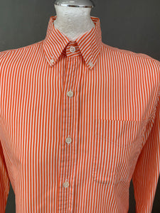 "RALPH LAUREN Purple Label Mens Orange Striped SHIRT Size 15"" Collar - S Small"