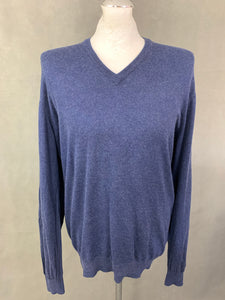 HACKETT Mens Cashmere Blend Navy Blue V-Neck JUMPER - Size XXL 2XL