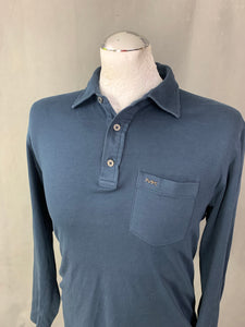 MICHAEL KORS Mens Blue Slim Fit Long Sleeved POLO SHIRT Size S - Small