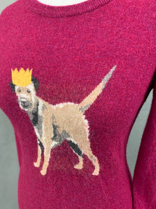 JOULES Ladies Dog Graphic Knitted JUMPER Size UK 10 - Small S
