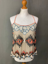 Load image into Gallery viewer, ALLSAINTS Ladies Sequin Embellished 100% Silk AZTEC VEST - Size UK 6