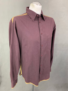 VERSACE JEANS COUTURE Mens Purple & Gold SHIRT - Size Medium M