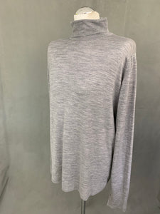 JOHN SMEDLEY Mens Grey Extrafine MERINO WOOL Roll Neck JUMPER Size XXL 2XL