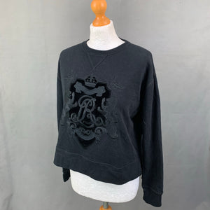 POLO RALPH LAUREN Ladies Black Embroidered SWEATER / JUMPER - Size Small S