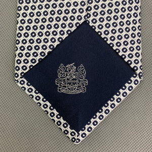 AQUASCUTUM Mens Silver 100% SILK Patterned TIE - Made in Italy