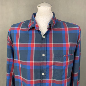 HUGO BOSS Mens BADRU Blue & Red Check SHIRT - Size Extra Large XL