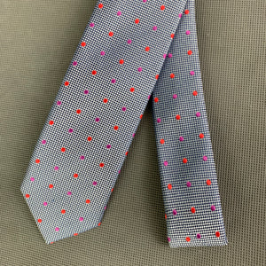 New TED BAKER Mens SPOTLIGHT Grey 100% Silk Dot Pattern TIE - BNWT
