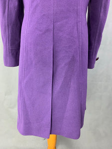 HOBBS London Ladies Purple Cashmere Blend COAT - Size UK 10