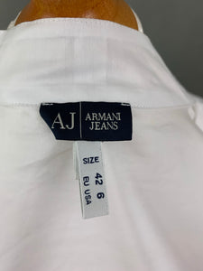 ARMANI JEANS Ladies White Pleated SHIRT / BLOUSE - Size IT 42 - UK 10