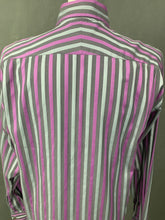"Load image into Gallery viewer, DUCHAMP London Purple & Grey Striped SHIRT Size 16"" Collar - Large L"