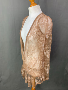 ALLSAINTS Ladies Sheer Light Brown Lace Top - Size UK 10