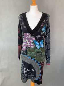 DESIGUAL Ladies Long Sleeved Black DRESS - Size Large - L