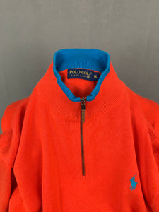 RALPH LAUREN Mens Red Zip Neck JUMPER Size XL Extra Large