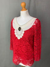 Load image into Gallery viewer, THE KOOPLES Moonlight Ladies Red LACE TOP Size 1 - UK 10